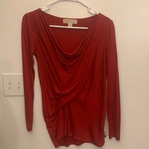 Red drapey long sleeve shirt